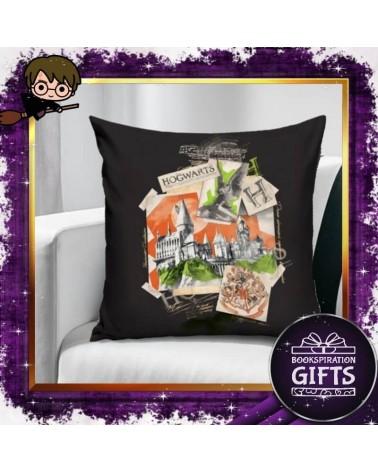 Калъфка за декоративна възглавничка Хогуортс черна, Хари Потър