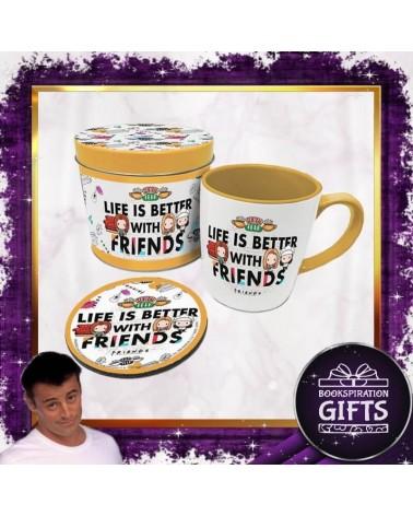 Подаръчен комплект с чаша и подложка Приятели