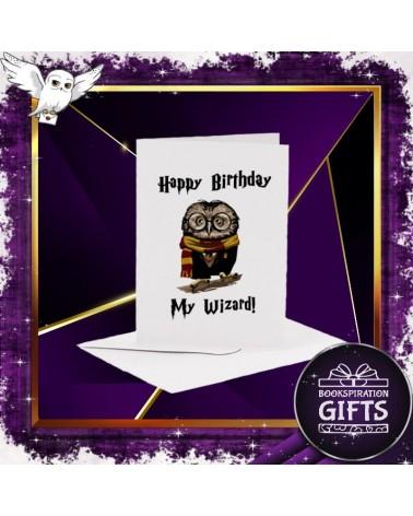Бяла картичка за рожден ден совата на Хари Потър