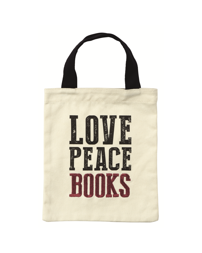 Fabric bag for books - Love, Peace, Books