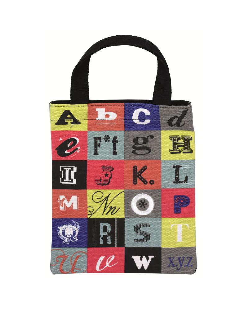 Текстилна чанта за книги - Букви