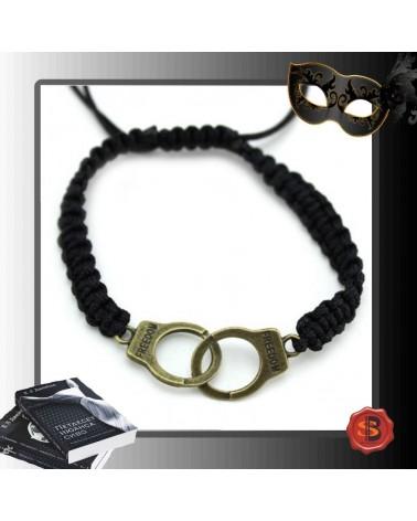 Плетена черна гривна белезници, 50 нюанса сиво