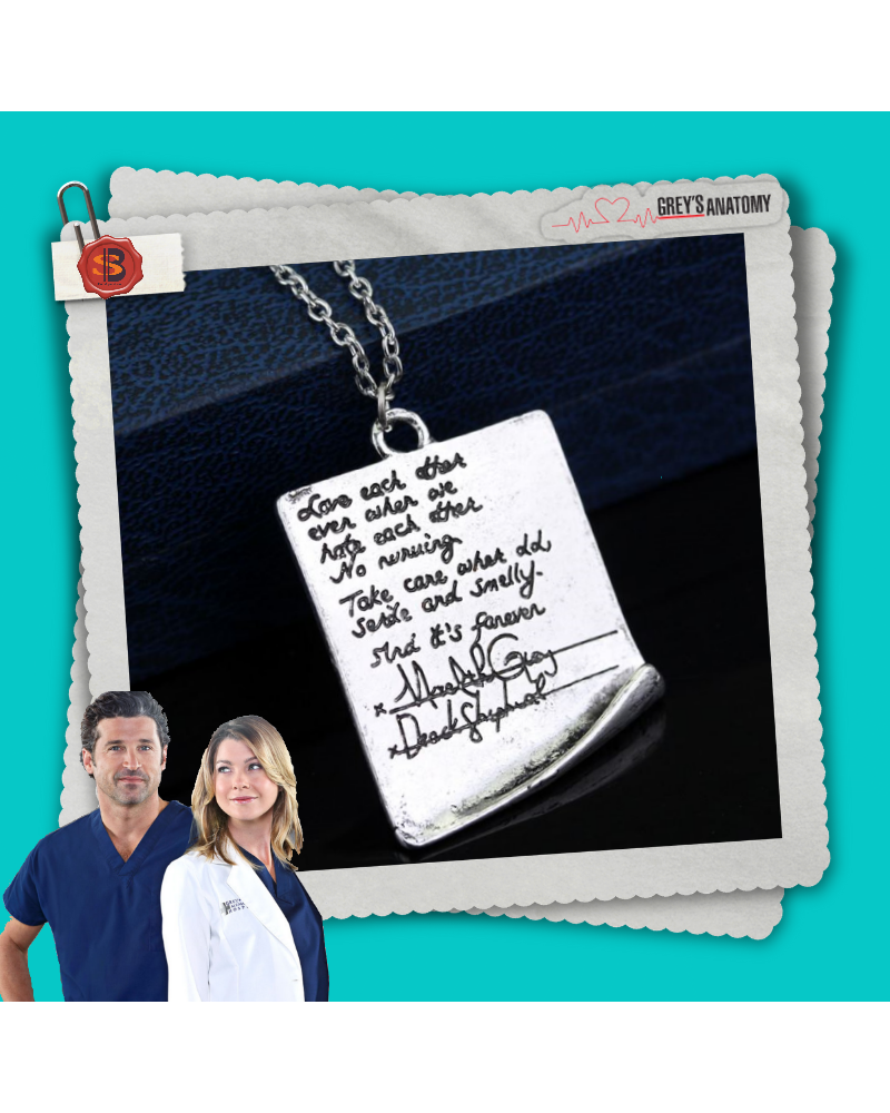 Handwriting Letter Necklace Meredith Derek, Grey's Anatomy