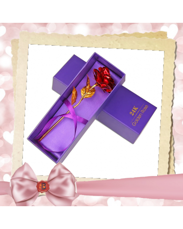 Златиста декоративна роза в красива подаръчна кутия