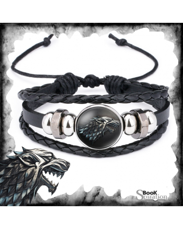 Cabochon Leather Bracelet Stark, Game of thrones