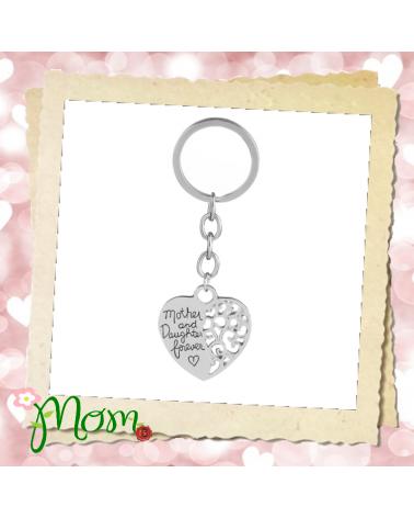 Mother & Daughter Forever Heart Keyring