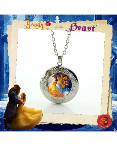 Beauty and the Beast Crest Locket Pendant Necklace