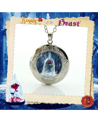 Beauty and the Beast Rose Crest Locket Pendant Necklace