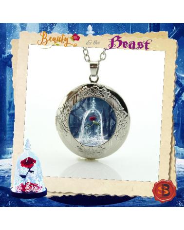 Колие роза в стъкленица с отварящ се медальон, Красавицата и Звяра