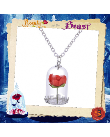 Beauty and the Beast Key Rose Necklace