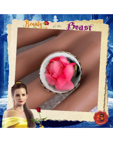 Beauty and the Beast Vintage Glass Rose Dry Ring