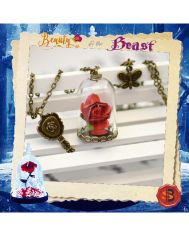 Beauty and the Beast Key Glass Dried Flower Mirror Necklace Rose