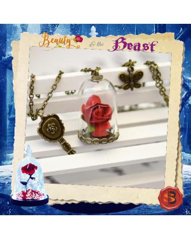 Колие червена роза в стъкленица, Красавицата и Звяра