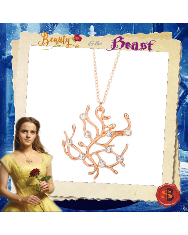 Beauty and the Beast Rose Crystal Necklace