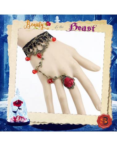 Винтидж гривна с пръстен роза, Красавицата и Звяра
