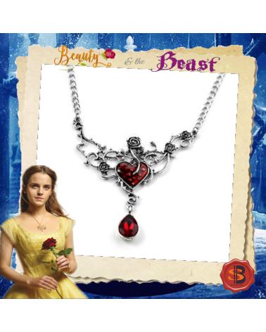 Винтидж колие роза с червен кристал, Красавицата и Звяра