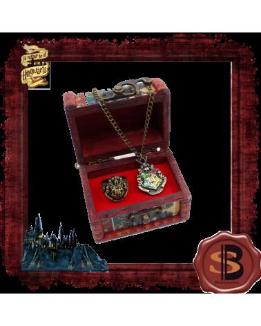 Комплект дървено ковчеже с колие и пръстен Хогуортс, Хари Потър