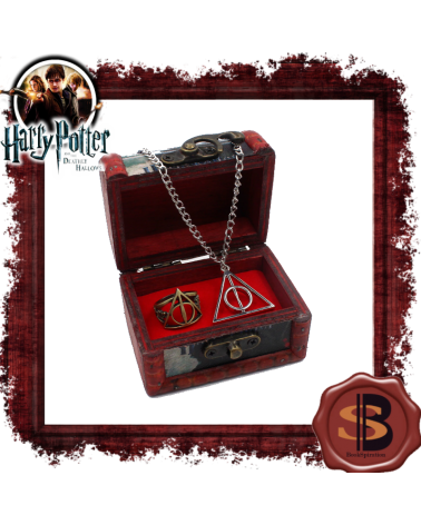 Комплект дървено ковчеже с колие и пръстен Даровете на смъртта, Хари Потър