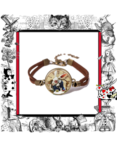 Leather Bracelet Rabbit watch, Alice in wonderland