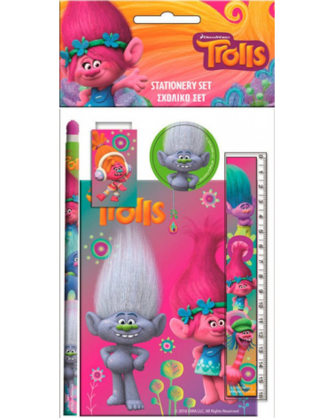 Stationery set 5 pieces of Trolls
