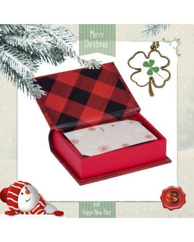 Коледен комплект Merry в кутийка с картичка и колие четирилистна детелинка