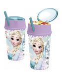 Frozen Glass with plastic lid and straw compartment