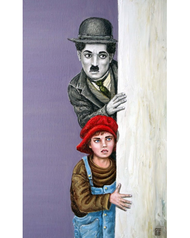 Charlie Chaplin and The Kid watching / Grigor Velev