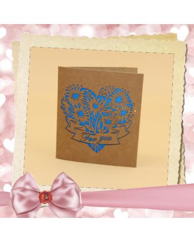 Крафт картичка сърце For You