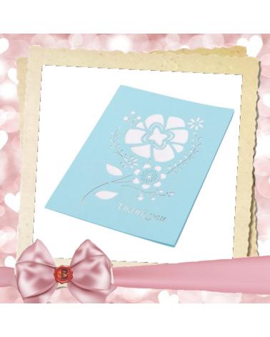 Перлена картичка с цвете Thank you