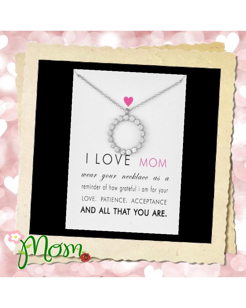 Сребристо колие сърце с кристали Мама