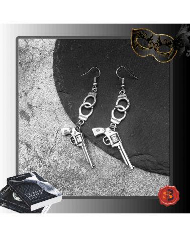Handcuffs pistol earrings 50 shades of Grey