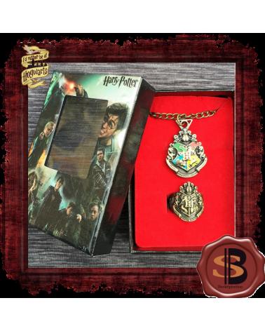 Harry Potter set Wooden Box necklace ring Hogwarts