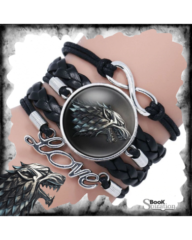Black Leather Bracelet Stark, Game of thrones