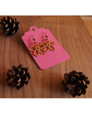 Wood earings flower
