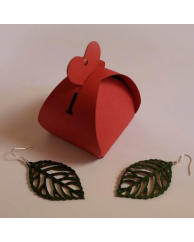 Wood earings leaf