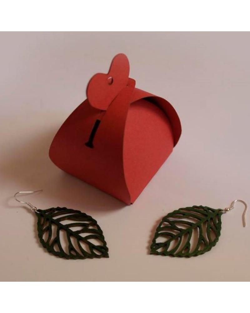 Wood earings leaf