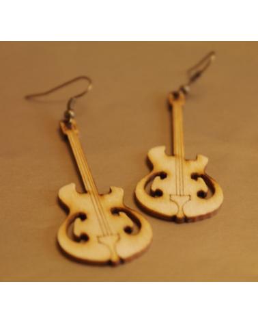 Wood earings guitar