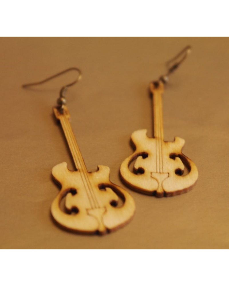 Wood earings guitar