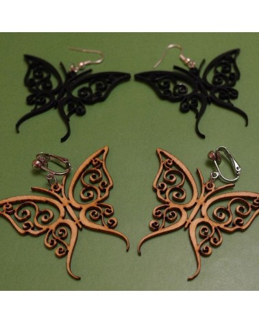 Wood earings butterflies