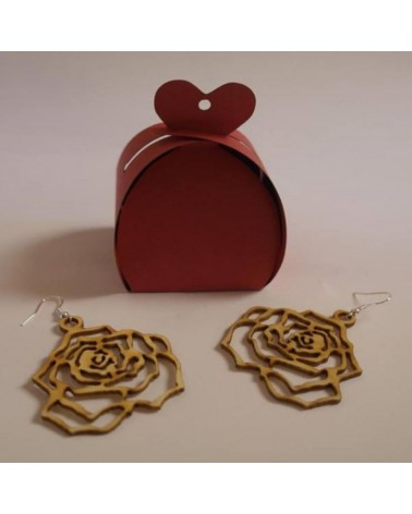 Wood earings rose