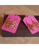 Wood earings with floral element