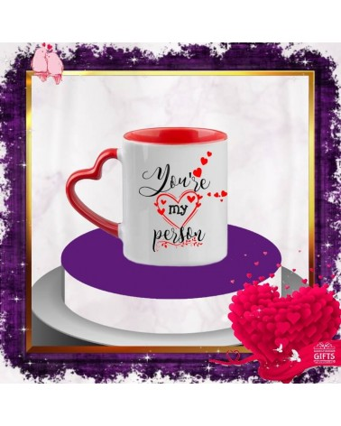 Керамична чаша сърце You are my person