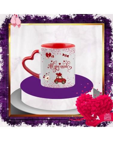 Керамична чаша сърце All you need is love