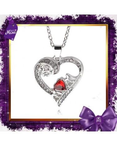Колие сърце с червен кристал Мама