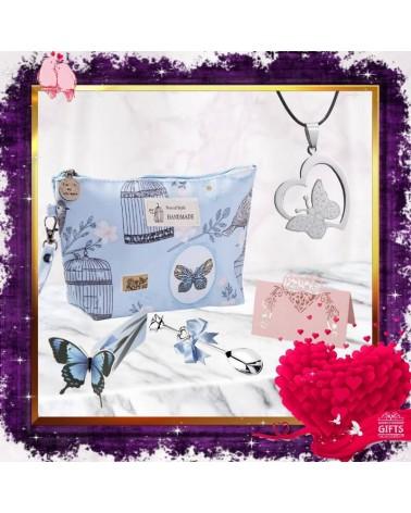 Комплект със син несесер Love Butterfly
