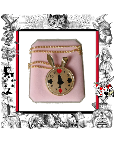 Necklace rabbit clock, Alice in Wonderland